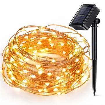 ソーラーパワー銅線ストリングライト